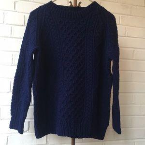 Vintage BlueWool Irish Fisherman's Sweater Sz L